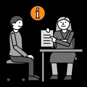 Ammattilainen opastaa asiakasta pöydän ääressä. Kuvassa on myös info-symboli, eli iso i-kirjain.