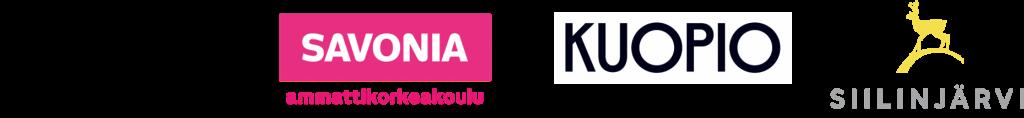 Ydinasia-hankeen osapuolten logot: Humak, Savonia, Kuopio, Siilinjärvi.
