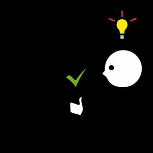 Piirroshahmo katsoo opastetaulua ja näyttää peukkua. Pään päällä syttyy lamppu.