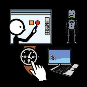 Papunet kuvapankin kuva teknologiasta luokkahuoneessa. Kuvassa on robotti, tietokone, älytaulu ja -kello.